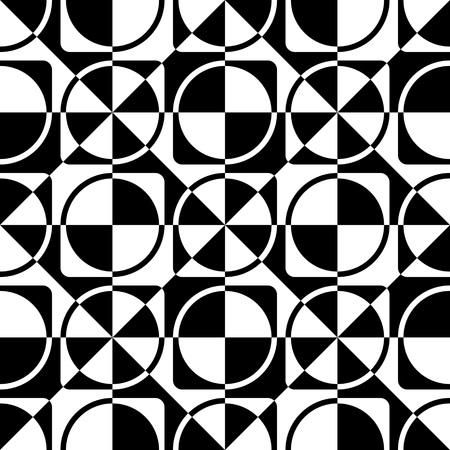 black background abstract: Seamless Circle, Square and Triangle Pattern. Vector Black and White Background