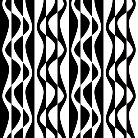 in curved: Seamless Curved Shape Pattern. Vector Monochrome Texture
