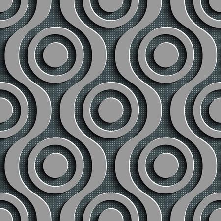 black damask: Seamless Damask Pattern. Vector Circle Background. Gray Regular Texture Illustration