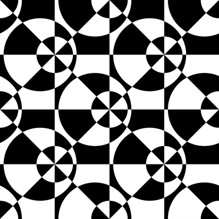 black background abstract: Seamless Square, Triangle and Circle Pattern. Abstract Black and White Background. Vector Regular Texture