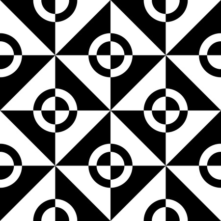 black circle: Seamless Square and Circle Pattern. Abstract Black and White Background. Vector Regular Texture