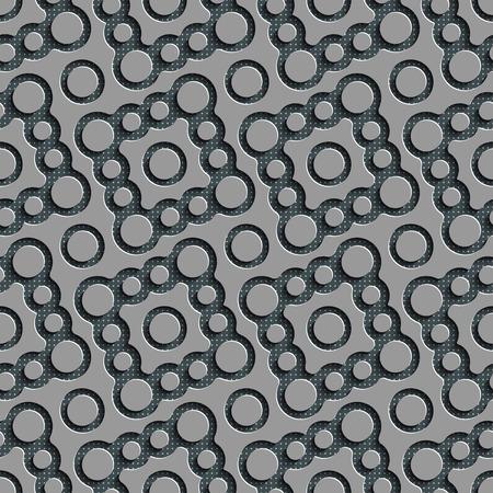 regular: Seamless Curved Shape Pattern. Abstract Gray Background. Vector Regular Texture