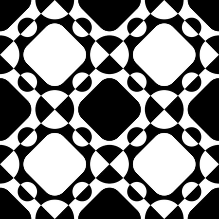 circle pattern: Seamless Square and Circle Pattern. Abstract Black and White Background. Vector Regular Texture
