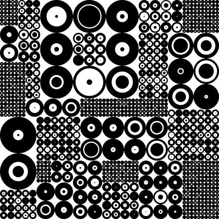 blanco negro: Patrón sin fisuras círculo. Fondo negro y blanco