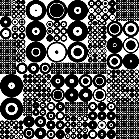 fondo blanco y negro: Seamless Circle Pattern. Black and White Background