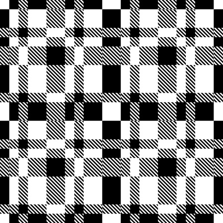 Nahtlose Tartan-Muster. Schwarzweiss-Hintergrund Vektorgrafik