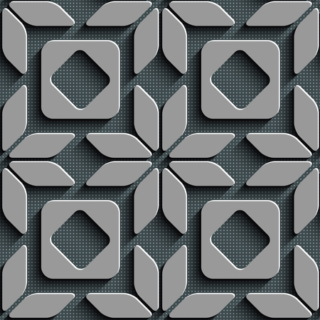 textile fabrics: Seamless Star and Square Pattern. Gray Background.