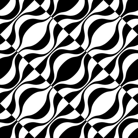 in curved: Seamless Curved Shape Pattern. Vector Monochrome Background Illustration
