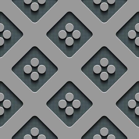regular: Seamless Square and Circle Pattern. Vector Regular Texture
