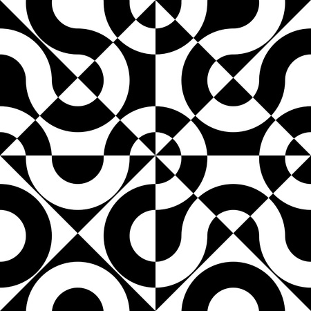 regular: Seamless Wave and Square Pattern. Black and White Regular Texture