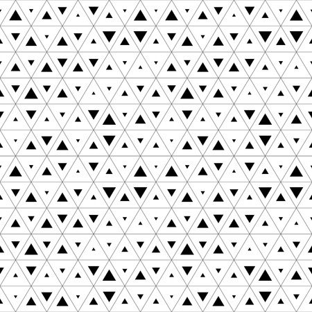 Seamless Triangle Pattern. Abstract Monochrome Background. Vector Regular Texture Çizim