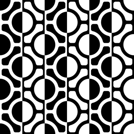 Seamless Grid Pattern. Vector Black and White Background. Regular Texture Vettoriali