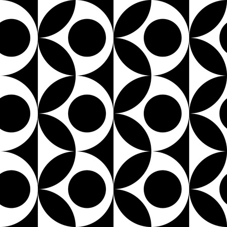 curved: Seamless Curved Shape Pattern. Vector Black and White Background