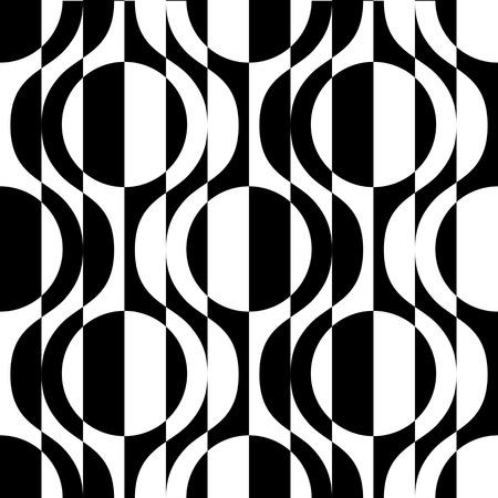 シームレスな曲面形状パターン。黒と白のベクトルの背景  イラスト・ベクター素材
