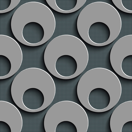 regular: Seamless Damask Pattern. Vector Circle Background. Gray Regular Texture Illustration