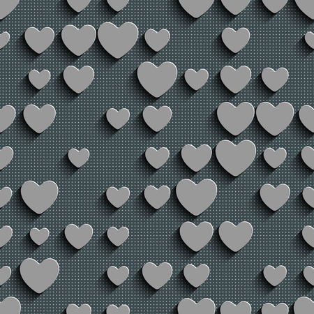 heart abstract: Seamless Heart Pattern. Abstract Gray Background. Vector Regular Texture