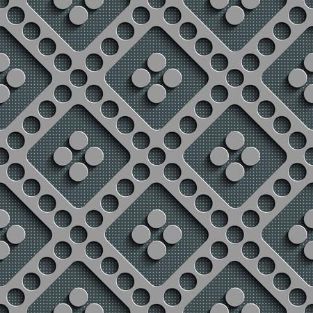regular: Seamless Circle and Diagonal Stripe Pattern. Vector Gray Regular Texture