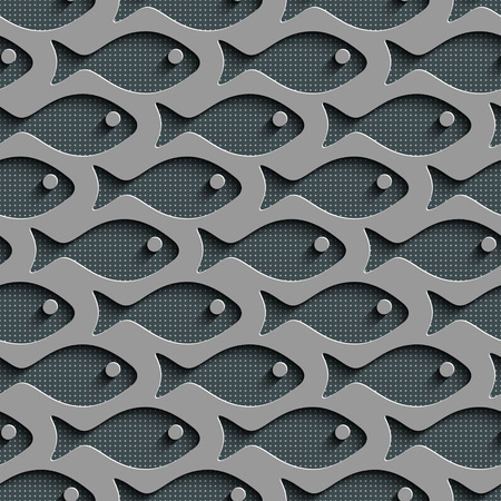 fishes: Seamless Fish Pattern. Abstract Gray Background. Vector Regular Texture