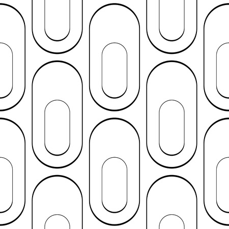 normal: Seamless Curved Shape Pattern. Vector Black and White Background