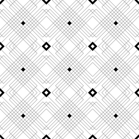 Seamless Square Line Pattern. Vector Black and White Texture Illustration