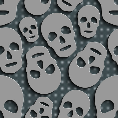 gray texture background: Seamless Skull Pattern. Abstract Gray Background. Vector Regular Texture