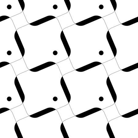 Carré sans soudure et cercle. Abstrait noir et blanc. Texture régulière de vecteur Vecteurs