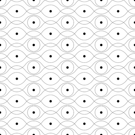 curved: Seamless Curved Shape Pattern. Vector Monochrome Texture