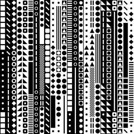 textil: Sin fisuras círculo, cuadrado y triángulo patrón. Vector y Negro Fondo blanco