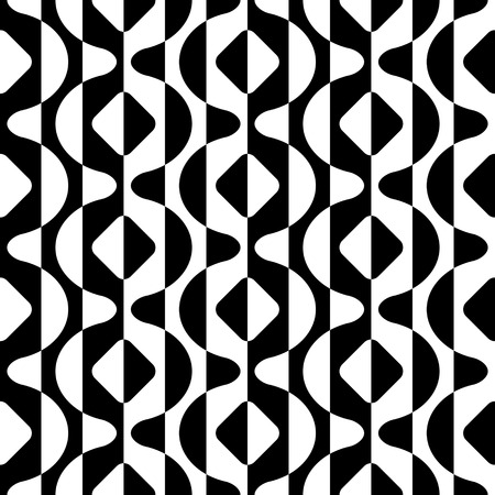 シームレスな曲面形状パターン。黒と白のベクトルの背景