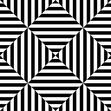 illusion: Seamless Square and Stripe Pattern. Abstract Monochrome Background. Vector Regular Texture Illustration