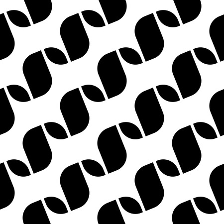 regular: Seamless Wave and Stripe Pattern. Black and White Regular Texture Illustration