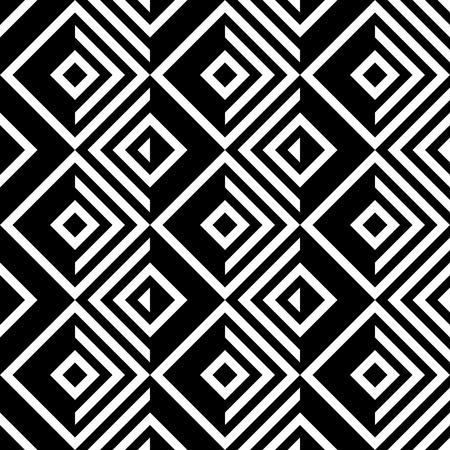 Naadloze Square en Streeppatroon. Abstracte zwart-wit achtergrond. Vector Regelmatige Texture