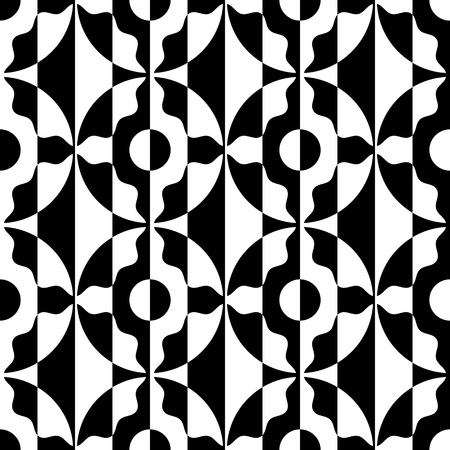 vintage patterns: Seamless Stripe and Circle Pattern. Vector Black and White Background