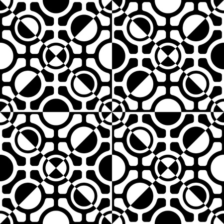 regular: Seamless Grid Pattern. Vector Black and White Background. Regular Texture Illustration