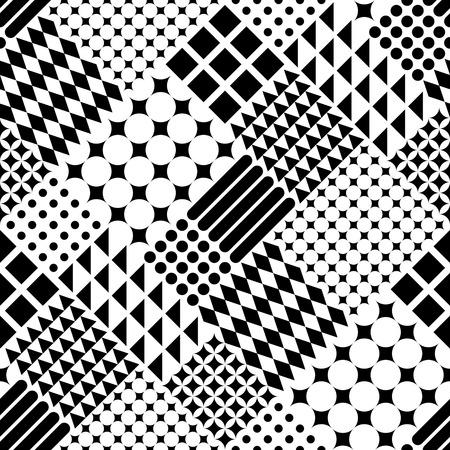 シームレスな円、正方形と三角形のパターン。黒と白のベクトルの背景