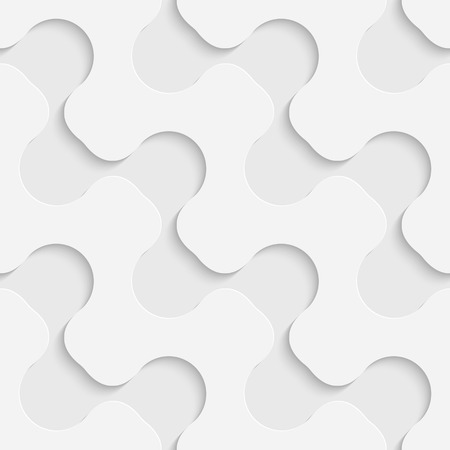 Seamless Curved Shape Pattern. 3d Vector Background. Regular White Texture Illustration