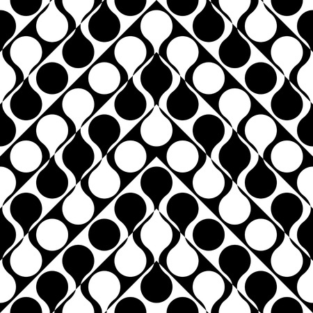 monochrome: Seamless Curved Shape Pattern. Vector Monochrome Texture