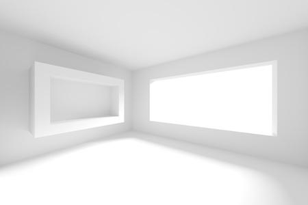 3d White Empty Room. Modern Interior Background