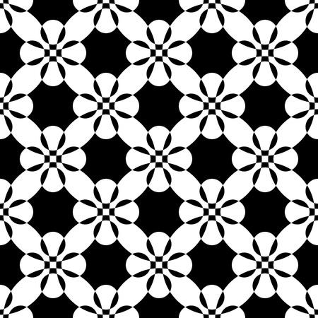 monochrome: Seamless Flower Pattern. Vector Monochrome Texture