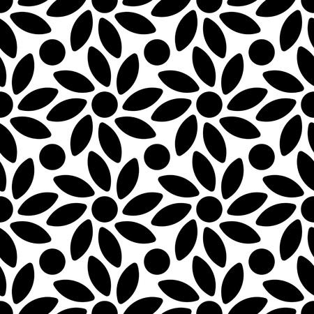 Seamless Flower Pattern. Vector Monochrome Texture