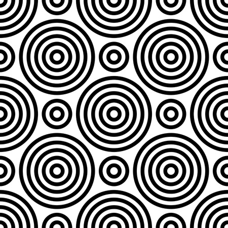 Seamless Circle Pattern. Abstract Black and White Background. Vector Regular Texture