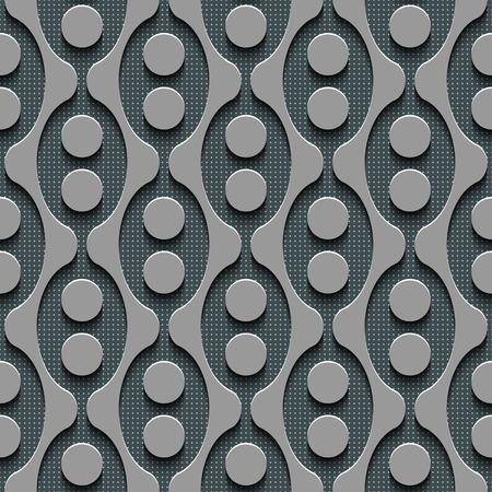 regular: Seamless Damask Pattern. Curved Shapes Background. Gray Regular Texture