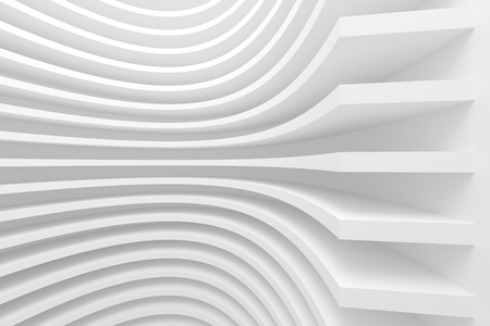 3d White Abstract Architecture Background. Modern Minimal Design Stock Photo