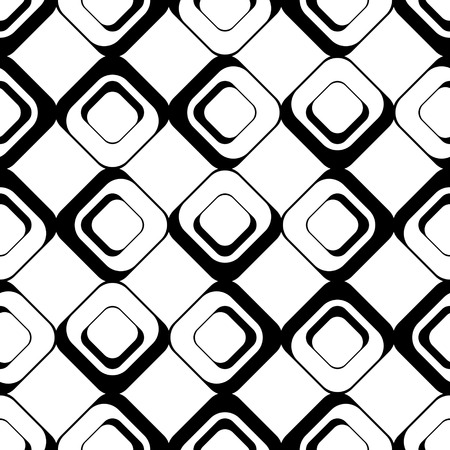 geometric lines: Seamless Square Pattern. Abstract Black and White Background. Vector Regular Texture