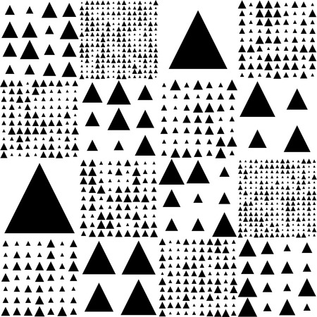 minimalistic: Seamless Triangle Pattern. Vector Black and White Background