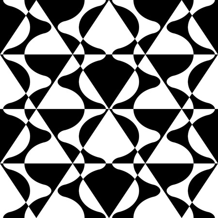 repeat structure: Seamless Curved Shape Pattern. Vector Black and White Background