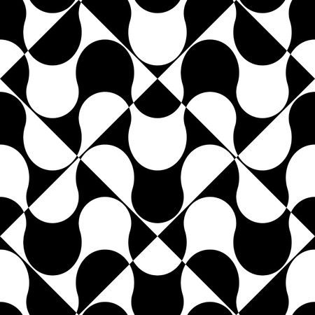 white wave: Seamless Wave and Square Pattern. Black and White Regular Texture
