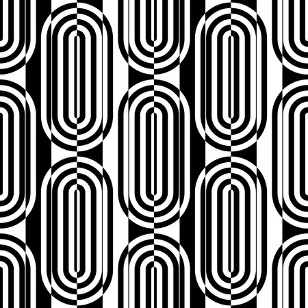 ellipse: Seamless Vertical Stripe and Ellipse Pattern. Vector Black and White Background Illustration