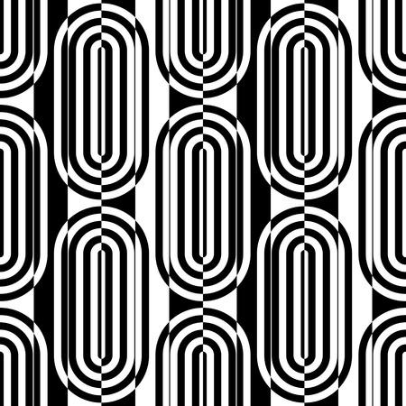 elipse: Sin fisuras patrón de rayas verticales y Elipse. Vector y Negro Fondo blanco
