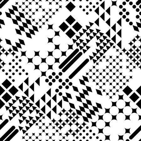 square abstract: Seamless Circle and Square Pattern. Abstract Black and White Background. Vector Regular Texture